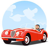Girl in old red convertible car vector illustration