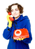 Girl with old red telephone Royalty Free Stock Photography