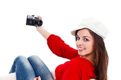 Girl and old style camera Stock Photography