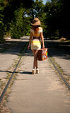 Girl with old suitcase Royalty Free Stock Image