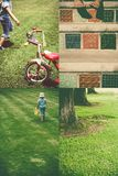 Girl and old tricycle - collage Stock Photos