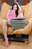 Girl with old typewriter Royalty Free Stock Photo