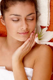 Girl with olive skin at spa Stock Image