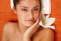 Girl with olive skin at spa Royalty Free Stock Photo