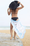 Girl On A Beach Stands By A Back Stock Image