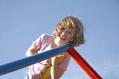 Girl On Climbing Pole 04 Stock Photos