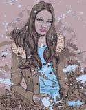 Girl On Grunge Background Stock Image