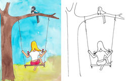 Free Girl On Swing Royalty Free Stock Images - 32614279