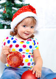 Girl On The Background Of The Christmas Tree Royalty Free Stock Images
