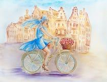 Girl On The Bike Royalty Free Stock Photos