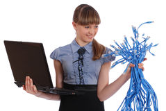 Girl in one hand holds the big sheaf of network Stock Photo