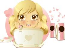Girl online flirting. Pretty girl online flirting. Illustration isolated on white background Stock Image