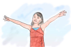Girl with open arms. On blue background. Illustration Royalty Free Stock Photos