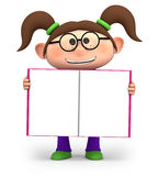 Girl with open book. Cute little cartoon girl holding an open book - high quality 3d illustration Stock Images
