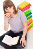 Girl with open book in lap Royalty Free Stock Photo