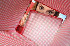 Girl open box of gift Royalty Free Stock Photography