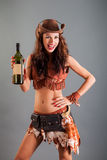 Girl in Open Cowboy Dance Costume Hat Poses with Bottle Stock Image