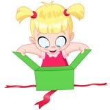 Girl open gift. Little girl open a green gift box Stock Photo