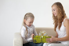Girl open gift Royalty Free Stock Image