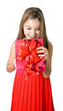 Girl open gift box Royalty Free Stock Image