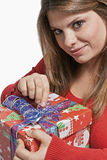Girl open the gift Stock Image