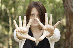 Girl with open hands Stock Photo