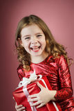 Girl open red gift box Royalty Free Stock Photography