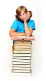 Girl with opened book Stock Image