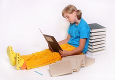 Girl with opened book Stock Photography