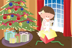 Girl opening Christmas present. A  illustration of a little girl opening a Christmas present Royalty Free Stock Photo