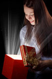 Girl opening gift box Stock Image