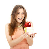 Girl opening  magic present Royalty Free Stock Photography