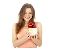 Girl opening  present Stock Photos