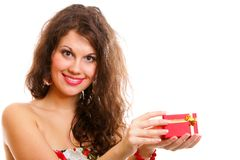 Girl opening small red gift box isolated Royalty Free Stock Photos