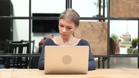 Girl Opening, Typing and Closing Laptop, Front View. Beautiful interior stock footage