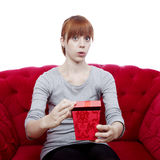 Girl opens gift box for you Stock Photo
