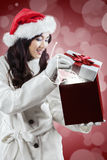 Girl opens her wish gift Stock Images