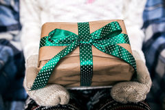 Girl opens a holding vintage gift Stock Images