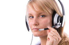 The girl-operator. The nice blonde works as the operator Stock Photo