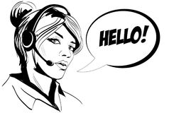 Girl operator call center. Comics style. Stock Images