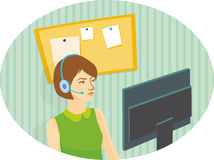 Girl operator in headphones looking at the monitor.  Royalty Free Stock Photo