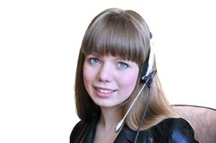Girl Operator With Headset Over White Stock Image