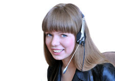 Girl operator with headset over white. Royalty Free Stock Photo