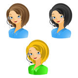 Girl operator. The nice girl the operator at work. vector illustration Royalty Free Stock Photos