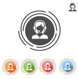 Girl operator vector flat icon. Isolated on white background Royalty Free Stock Photography