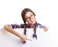 Girl in optical glasses showing placard stock photos