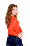 Girl in orange Stock Image