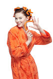 Girl in orange Stock Image