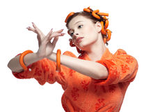 Girl in orange Royalty Free Stock Image