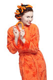 Girl in orange Royalty Free Stock Images